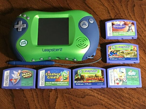 Leapster 2 II Green Learning System + 6 Games Leap Frog Sponge Bob Ratatouille  $29.99