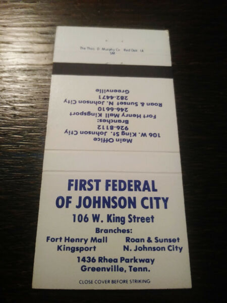 Vintage Matchcover: First Federal of Johnson City TN CC