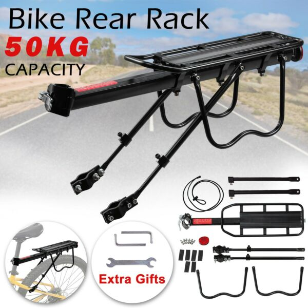 Bicycle Rear Bike Rack Heavy Duty Aluminum Carrier 110 Lb Capacity Quick Release $20.98