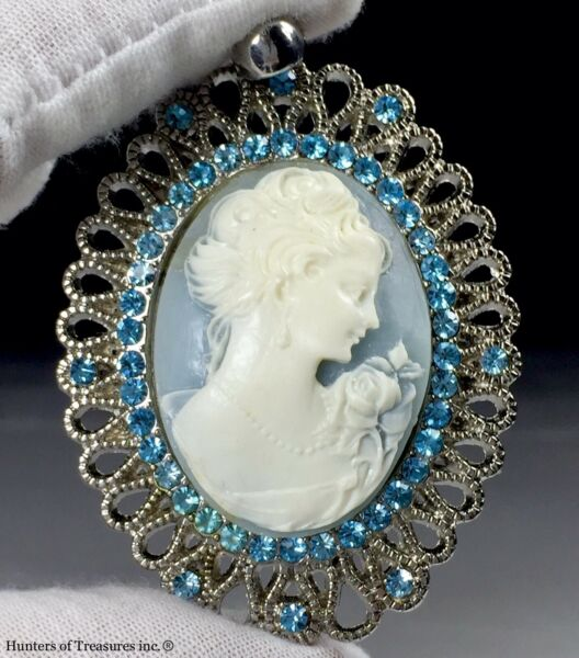 """Big Vintage Cameo Celluloid on Blue Resin Silver Tone Metal Pendant 3"""" 1960's"""