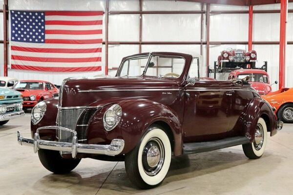 1940 Ford Deluxe  1940 Ford Deluxe  57 Miles Burgundy Convertible Flathead V8 3-On The Tree
