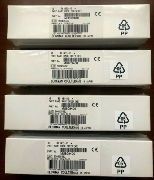 4 Pack Beckman Coulter MU809400 QC Type GREEN Rack Sealed Boxes $59.99