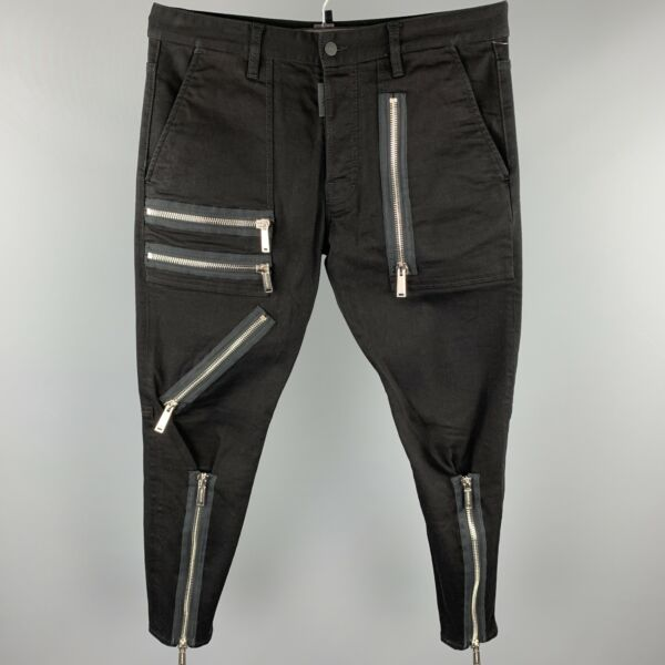 DSQUARED2 Size US 34 IT 50 Black Cotton Button Fly Multi Zippers Casual Pants $443.00