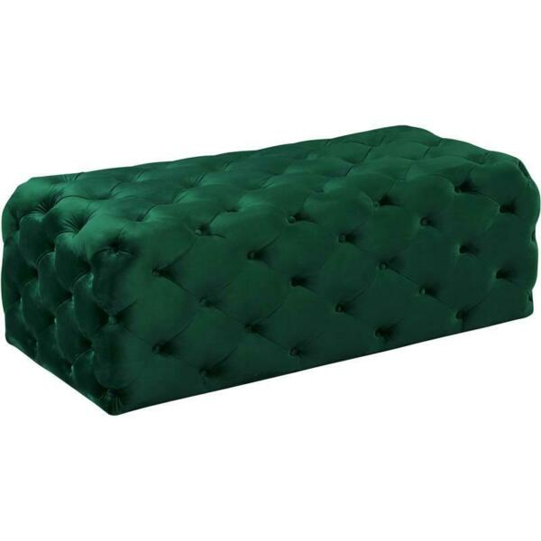 Meridian Furniture Casey Button Tufted Green Velvet Ottoman and Bench $257.62