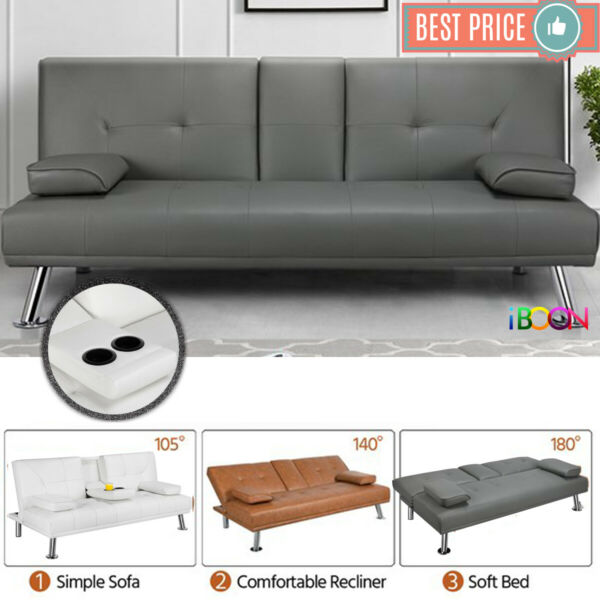 Faux Leather Futon Sofa Bed Recliner Couch Sleeper FULL Convertible Loveseat CUP $189.99