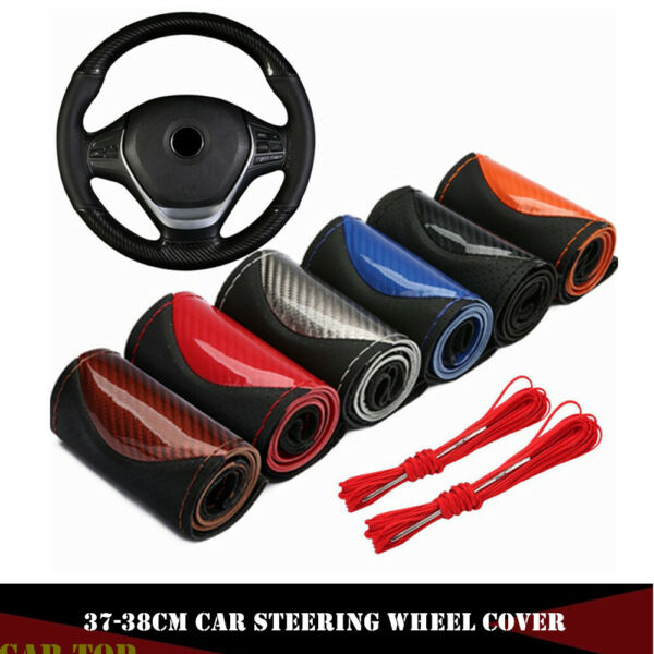 Crystal 15quot; 38cm DIY Carbon Leather Car Steering Wheel Cover With Needlesamp;Thread $10.99