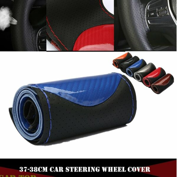 15quot; 38cm DIY Carbon Leather Car Steering Wheel Cover With Needlesamp;Thread Blue $10.99
