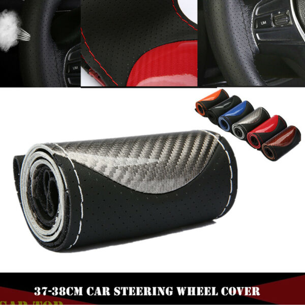 Silver 15quot; 38cm DIY Carbon Leather Car Steering Wheel Cover With Needlesamp;Thread $10.99