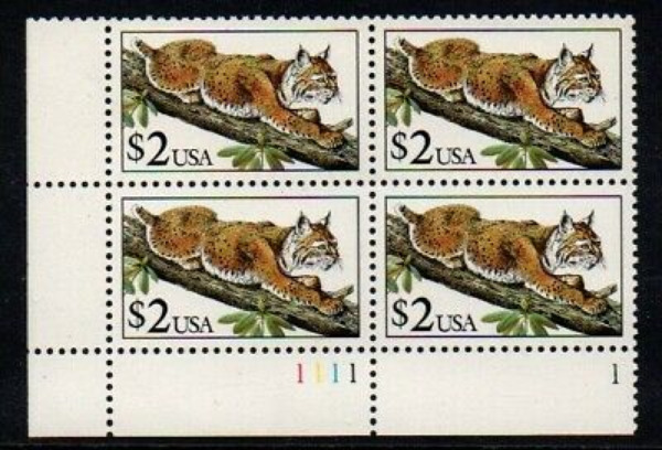 # 2482 US Postage Stamps PLATE BLOCK LYNX IN TREE 4 STAMPS