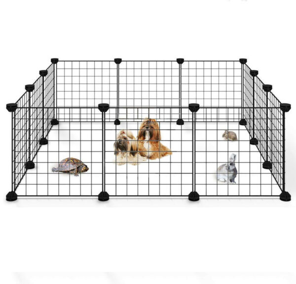 Portable 14quot;Metal Dog Pet Playpen Crate Animal Fence Exercise Cage W Door 12 Pcs $25.99