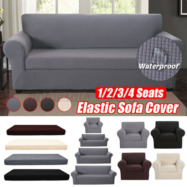 2 piece Set Waterproof Elastic Stretch Sofa Cover Waffle Fabric Couch Slipcover $23.03