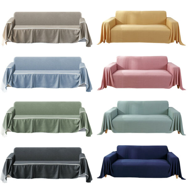 1 2 3 4 Seater Knitted Cotton Linen Sofa Cover All Inclusive Sofa Couch Cover $15.88