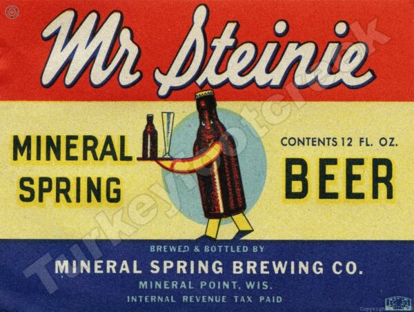 MR STEINIE MINERAL SPRING BEER LABEL 9quot; x 12quot; METAL SIGN