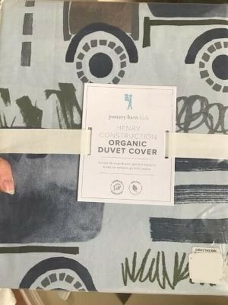 Pottery Barn Kids Henry Construction Duvet Cover Blue Twin No Shams $69.00