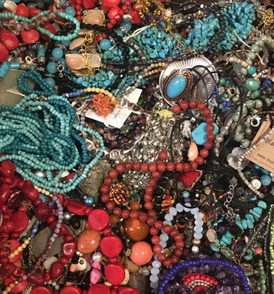 HUGE JEWELRY LOT Vintage Modern POUNDS LBS Crystal Stone Beads Turquoise Estate