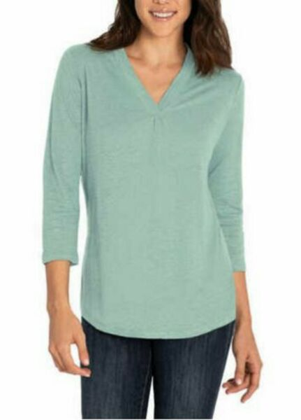 Orvis Ladies#x27; Linen Blend Top. Pre Owned $8.99