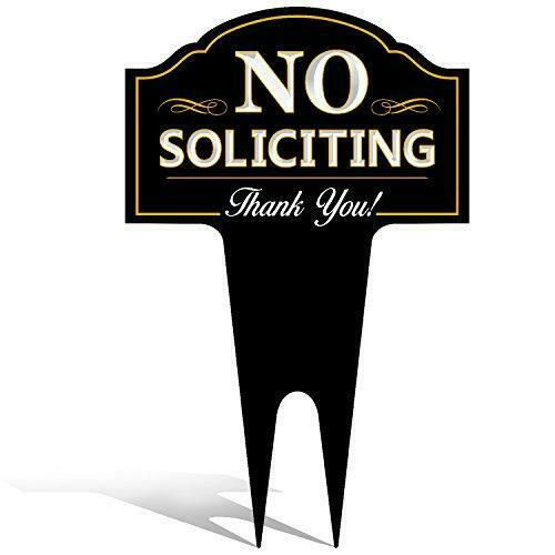 No Soliciting Outdoor Metal Yard Sign for Home House and Business Stylish