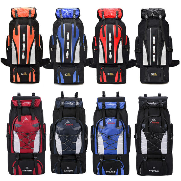 80L 100L Outdoor Hiking Backpack Camping Rucksack Waterproof Shoulder Travel Bag $22.88
