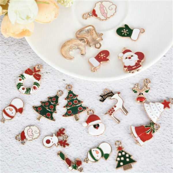 38PCS Christmas Charms Pendant Enamel Alloy Mixed Jewelry DIY Making Crafts $4.74