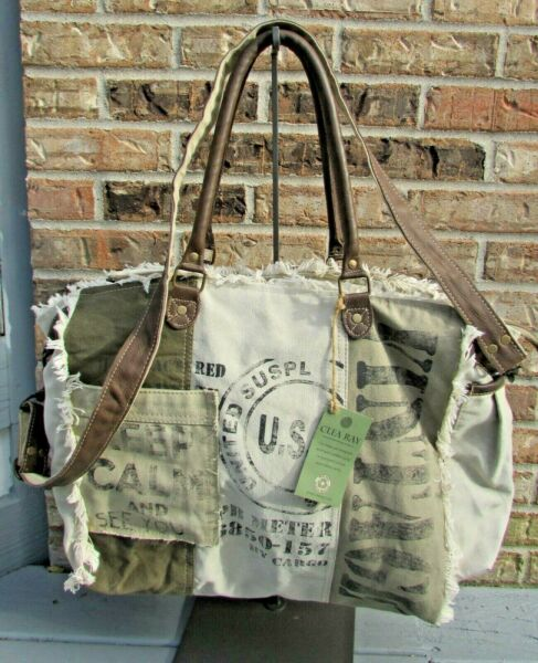 NWT CLEA RAY Large Tote with Shoulder Strap Recycled Canvas amp; Military Tents