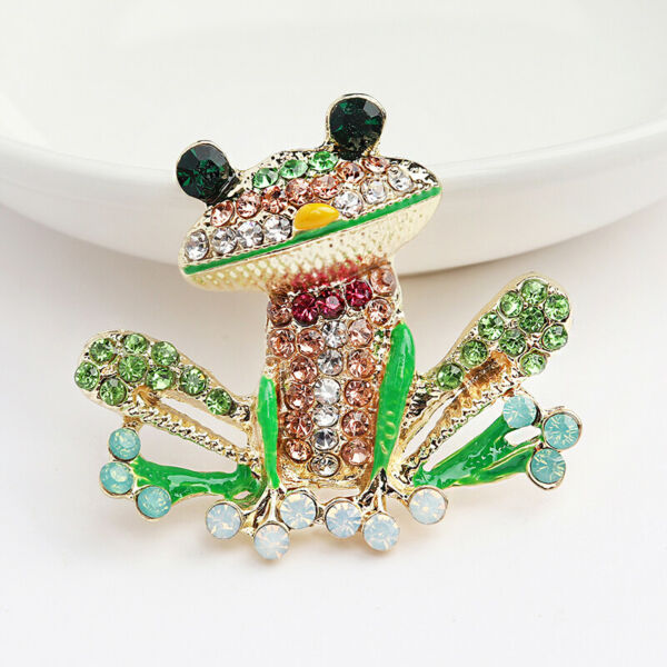 Betsey Johnson Green Enamel Crystal Cute Frog Charm Animal Brooch Pin Gift Hot
