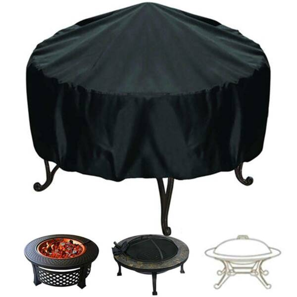 Patio Round Fire Pit Cover Waterproof UV Protector Grill BBQ Cover Outdoor Black $12.25