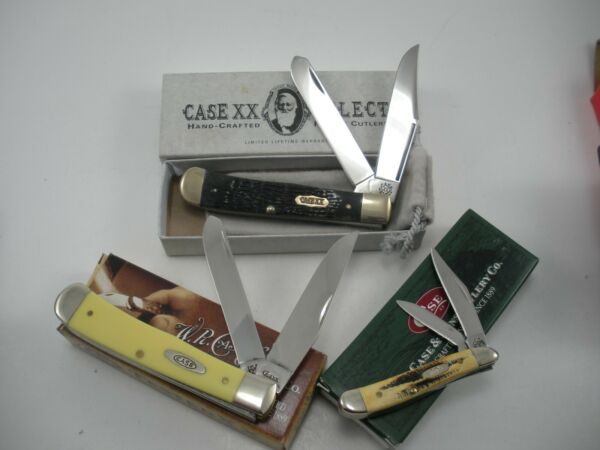 NOS LOT OF 3 CASE KNIVES NEVER USED IN BOX TRAPPER BS PEANUT SELECT TRAPPER