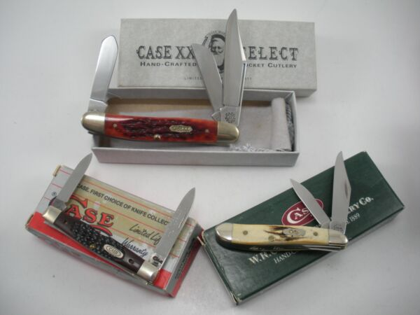 NOS LOT OF 3 CASE KNIVES NEVER USED IN BOX PEN BS PEANUT SELECT STOCKMAN
