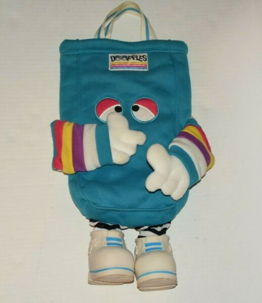 Vintage 80s Dooffles Bag Blue Plush Tote Large Toy Carrier With Legs 1988 $29.95