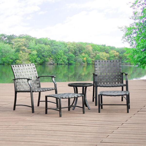 5 Piece Patio Chairs Set Strap Strapping W Side Table Ottoman Garden Outdoor