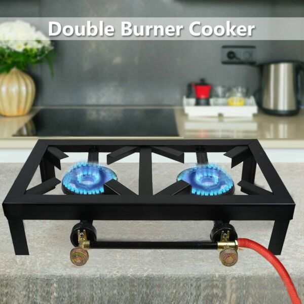 Portable Double 2 Burner Iron Propane LPG Gas Stove Outdoor Camping Cooker BBQ