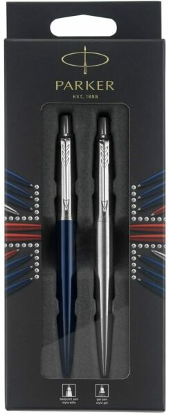 Parker Jotter London Ballpoint Pens 2 Pack Stainless Steel amp; Blue France Made