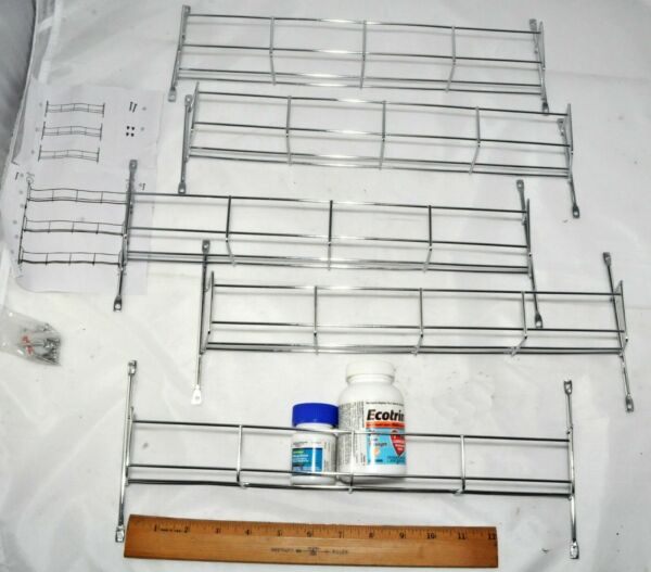 LOT 5 15quot; x 2 1 4quot; Silver Wire Wall Racks Shelves Bottles Spice Thread Rack $14.99