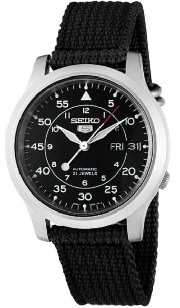 Seiko Men#x27;s SNK809 Seiko 5 Automatic Stainless Steel Watch with Black Canvas St $97.22