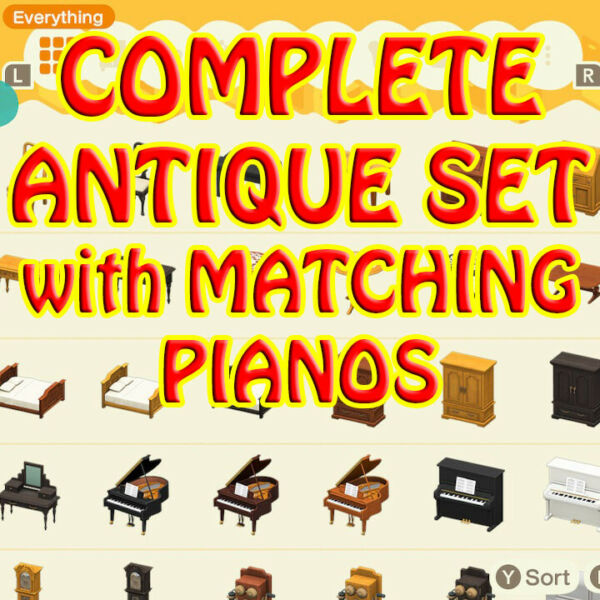 ACNH🎁🔔🍦🐟🌟antique furniture set 10pc all 3 colors matching pianos🎉🍄🌹