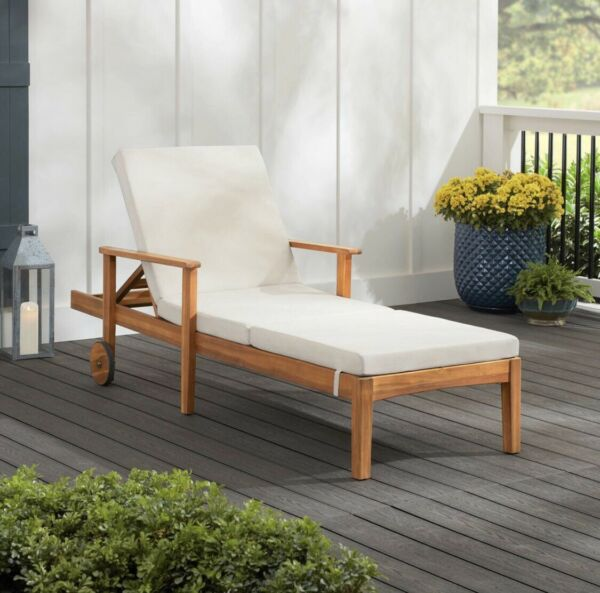 Hampton Bay Willow Glen Farmhouse Teak Wood Outdoor Patio Chaise Lounge $149.00