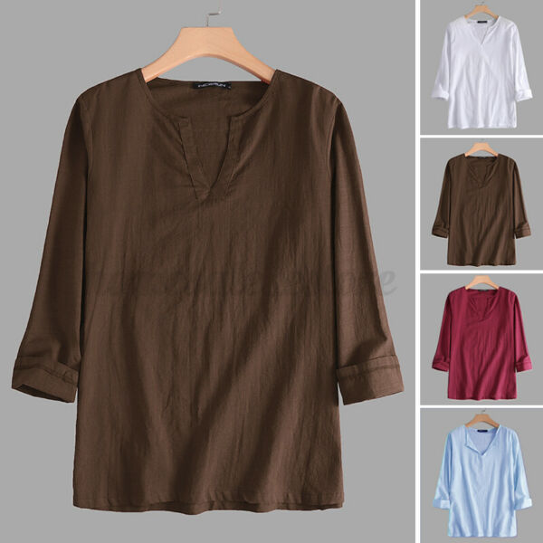 Mens Long Sleeve Vintage Linen Cotton Shirt Loose V Neck Casual Beach Shirt Tops