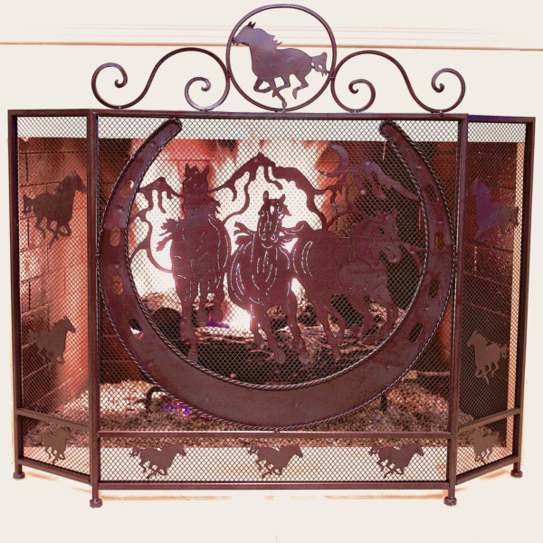 Rustic Metal Foldable Fireplace Screen with Horseshoe and Running Horses