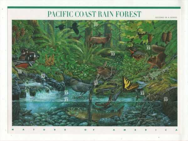 Sheet of 10 Pacific Coast Rain Forest 33c postage stamps 3.30 FV MNH Scott #3378