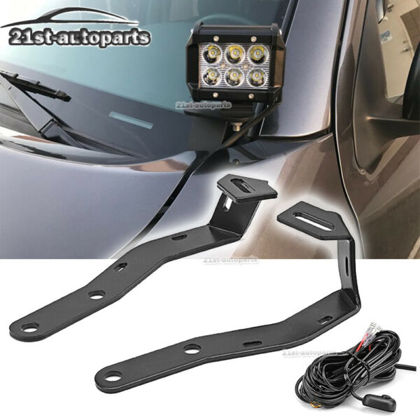 For 2016 2020 Toyota Tacoma Hood Ditch Side Fog Light Mount Bracket Wire Kit