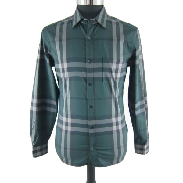 J 4475122 New Burberry Green Long Sleeve Plaid Oxford Shirt Size Small $152.99