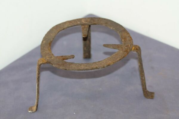Small Antique Primitive Hand Forged Fireplace Iron Trivet . 19th C.