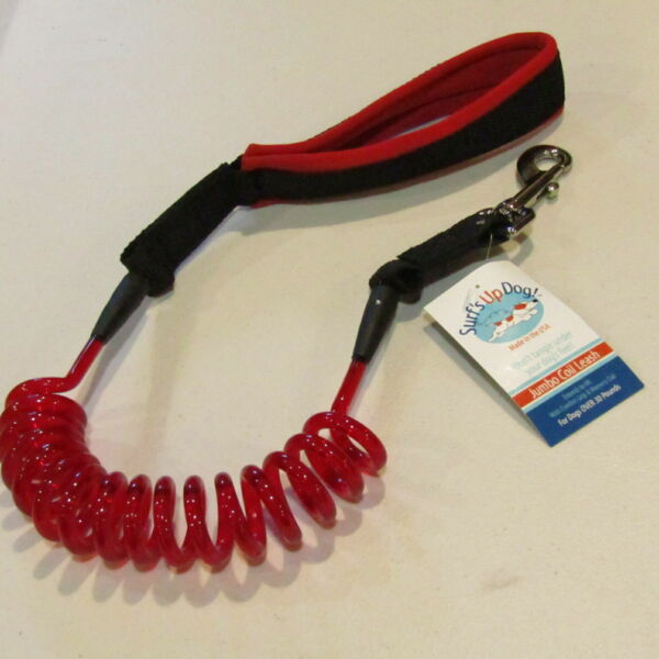 Surfs Up Dog Dog Coil Leash Jumbo Over 30 Pounds 6#x27; Long Red Black NOS $15.00