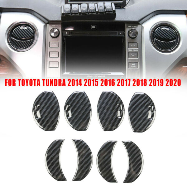 8pcs Carbon Grain Air Vent Outlet Overlay Cover Trim For Toyota Tundra 2014 2020 $14.83