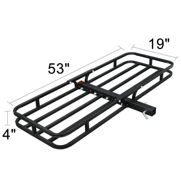 Universal 53quot; 2quot; Hitch Rack Extension Cargo Luggage Hold Carrier Basket Black $48.99