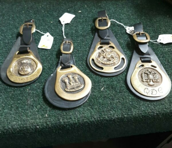 4 Rare Unique Vintage Horse medallions on Leather. Martingale Harness Bridle