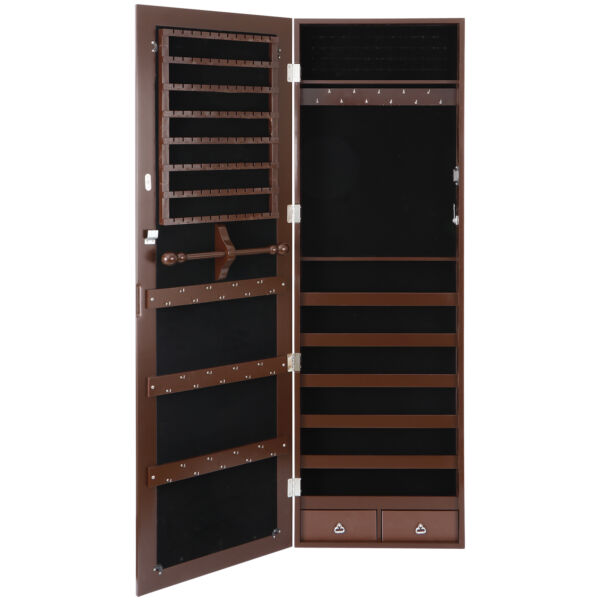 Jewelry Cabinet Wall Door Mounted Armoire Large Box Organizer with Mirror