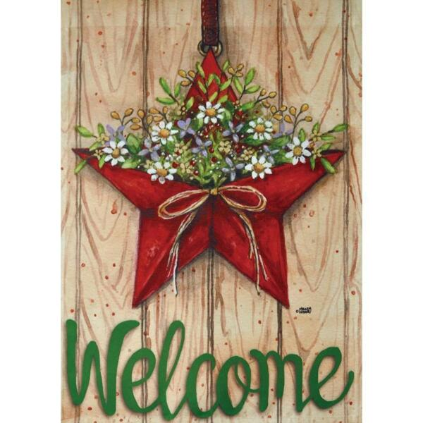COUNTRY STAR WREATH WELCOME 12.5quot; X 18quot; GARDEN FLAG 11 3039 209 RAIN OR SHINE $13.97