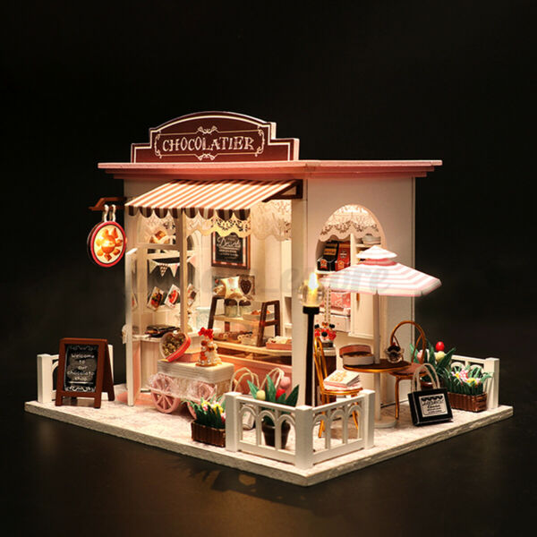 Doll House Wooden Miniature Furniture Modle DIY Kit w LED Light Kid Xmas Gifts
