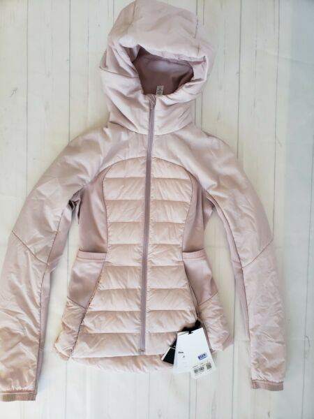 NWT Lululemon Down For It All Jacket POIK Porcelain Pink Size 2 Shopping Bag $139.99
